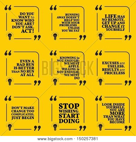 Set Of Motivational Quotes About Responsibility, Action, Problems, Results, Achievement, Success And