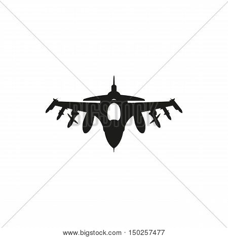 black Fighter Jet icon isolated on white background. Elements for company print products page and web decor. Vector illustration.