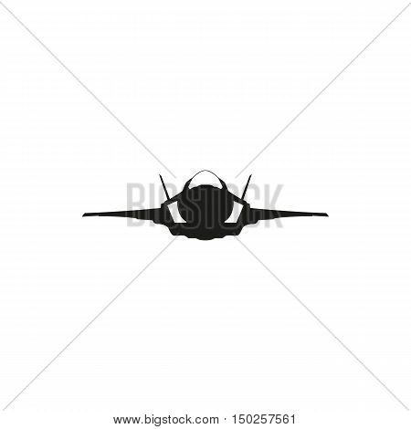 simple black fighter jet plane icon isolated on white background. Elements for company print products page and web decor. Vector illustration.