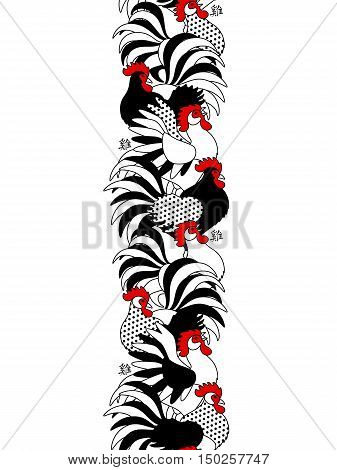 Vertical Seamless Border with Black and White Ornate Cocks. Vector illustration. Hieroglyph Translation - Rooster. Chinese 2017 New Year Concept.