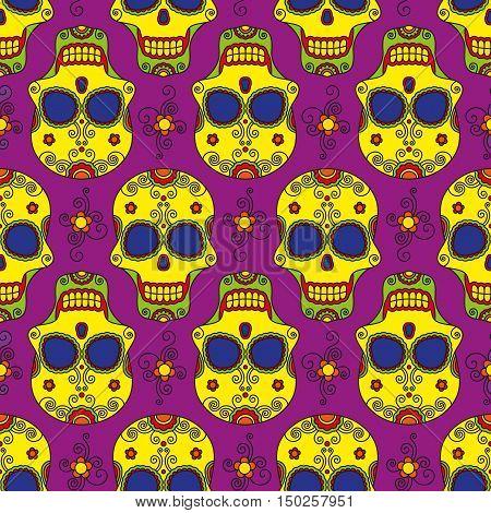 Funny colored skull seamless pattern, dulce muerte, vector illustration