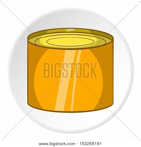 Tin packaging icon in cartoon style isolated on white circle background. Production and packaging symbol vector illustration