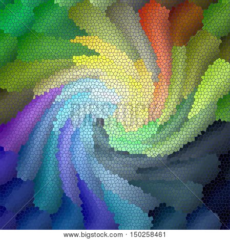 Abstract coloring background of the abstract gradient with visual lighting, pinch,mosaic,plastic wrap and twirl effects.Good for your project design