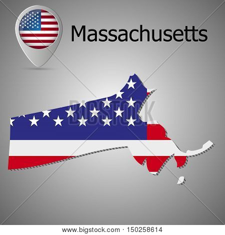Vector map with US flag inside of Massachuetts Map pointer with American flag
