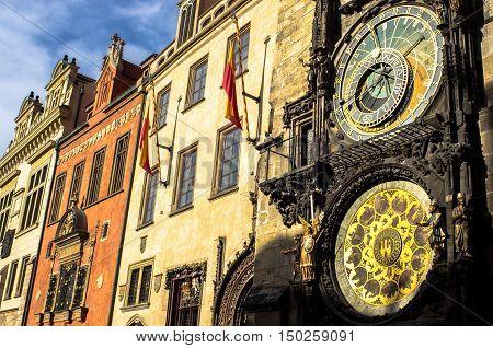Beautiful astronomical clock of Prague, Czech Republic