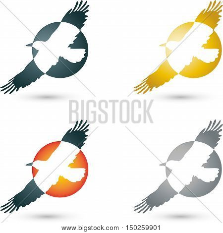 Logo, bird, crow, raven, bird in flight