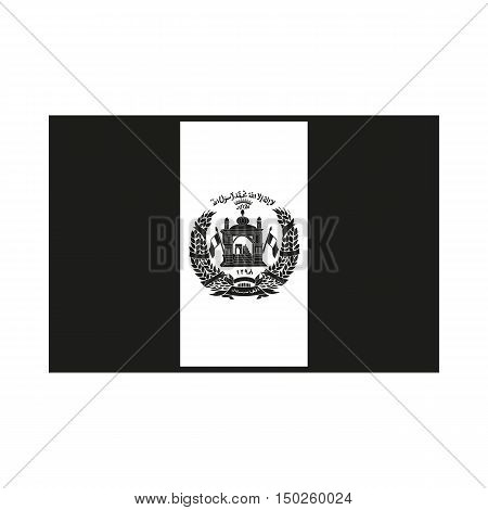 Flag of Afghanistan. Icon Created For Mobile Web Decor Print Products Applications. Simple black icon isolated on white background. Vector illustration.