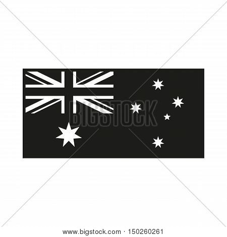 Australia Flag. Icon Created For Mobile Web Decor Print Products Applications. Simple black icon isolated on white background. Vector illustration.