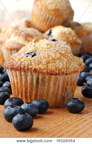 Delicious homemade blueberry muffins with fresh blueberries.  Macro with shallow dof.