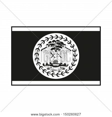 Flag of Belize. Icon Created For Mobile Web Decor Print Products Applications. Simple black icon isolated on white background. Vector illustration.