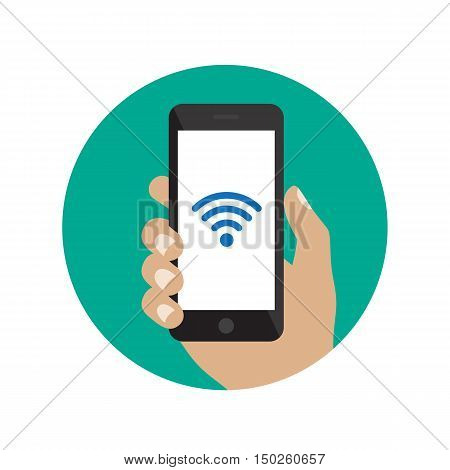 Hand holding black smartphone with Wi-Fi icon. Flat style illustration