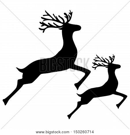 Adult Reindeer and baby deer jumping on a white background, vector illustration