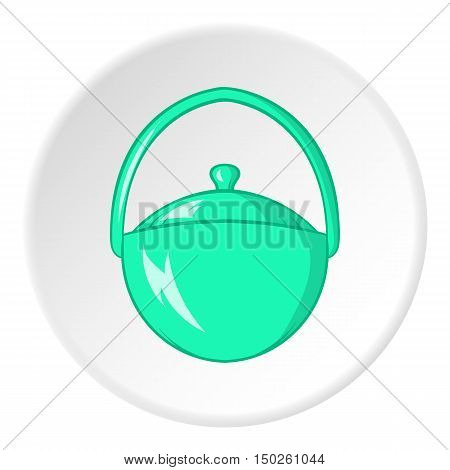 Bowler for food icon in cartoon style isolated on white circle background. Cooking symbol vector illustration