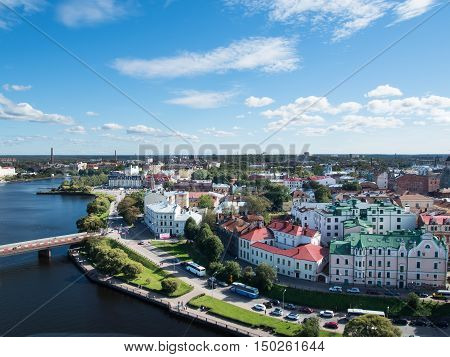 Vyborg Russia September 3 2016: panorama of Vyborg from the lookout tower in the Vyborg castle in Vyborg Russia