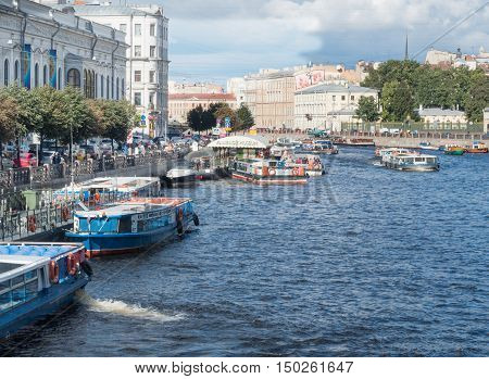 Saint Petersburg Russia September 10 2016: boats Moored on the embankment of the Fontanka river in St. Petersburg Russia.
