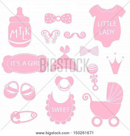 A Vector Illustration Of Cute Baby Girl Icons Like Nappy Pins, Pacifier And Baby Toys. Pink Silhouet