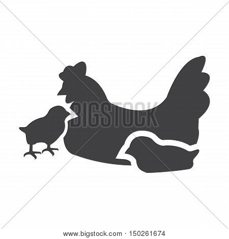 hen, chickens black simple icon on white background for web design