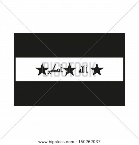 Iraq Flag. Icon Created For Mobile Web Decor Print Products Applications. Black icon isolated on white background. Vector illustration.