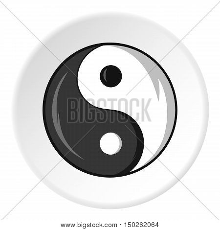 Sign yin yang icon in cartoon style isolated on white circle background. Religion symbol vector illustration