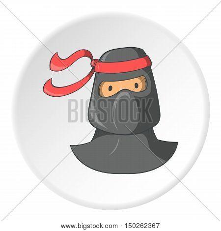 Ninja icon in cartoon style isolated on white circle background. Spy symbol vector illustration