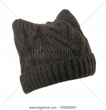 Women's  Knitted Beanie  Isolated On White Background