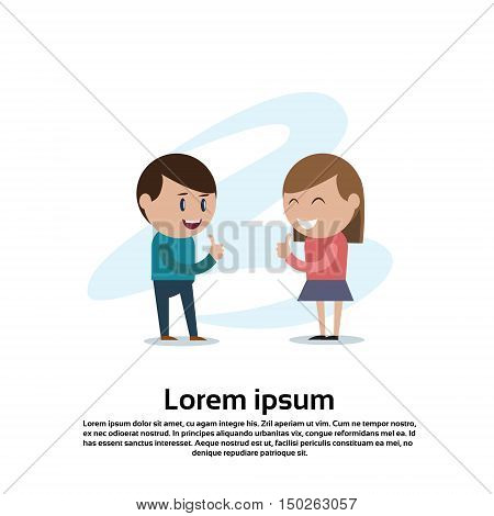 Young Couple Boy And Girl Teenagers Thumb Up Hand Gesture Flat Vector Illustration