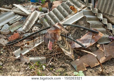 Construction garbage. Different materials are large heap of garbage.