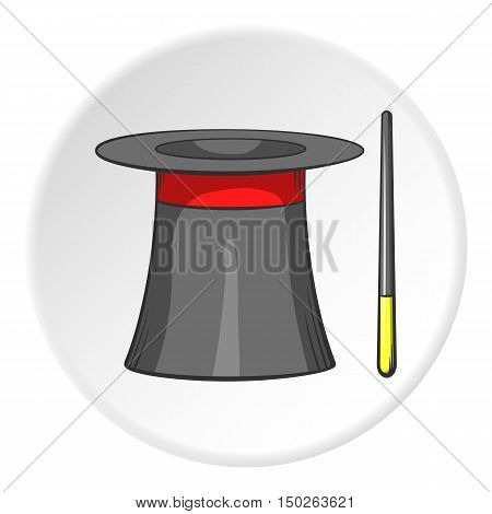 Magician hat and magic wand icon in cartoon style isolated on white circle background. Tricks symbol vector illustration