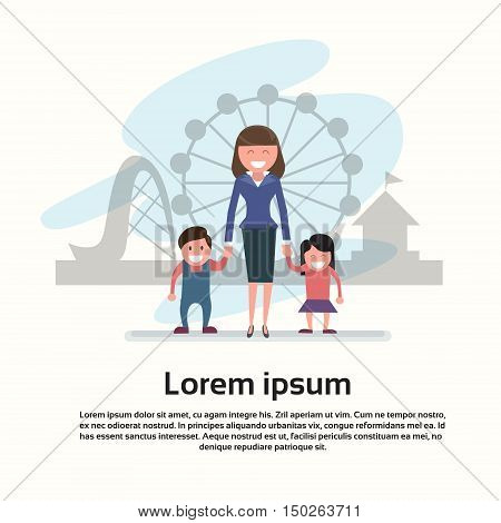 Mother With Son Daughter Happy Family Woman Two Kids In Amusement Park Flat Vector Illustration