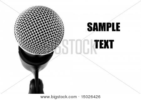 Black and white image of microphone with copy space.   Macro with shallow dof.