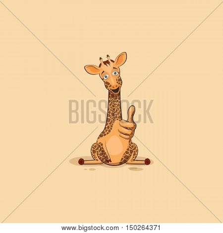 Vector Stock Illustration isolated Emoji character cartoon Giraffe approves with thumb up