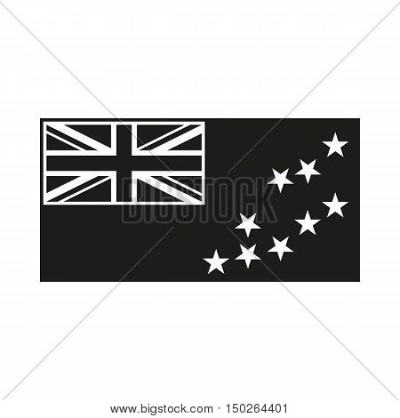 Flag of Tuvalu Icon Created For Mobile Web Decor Print Products Applications. Black icon isolated on white background. Vector illustration.