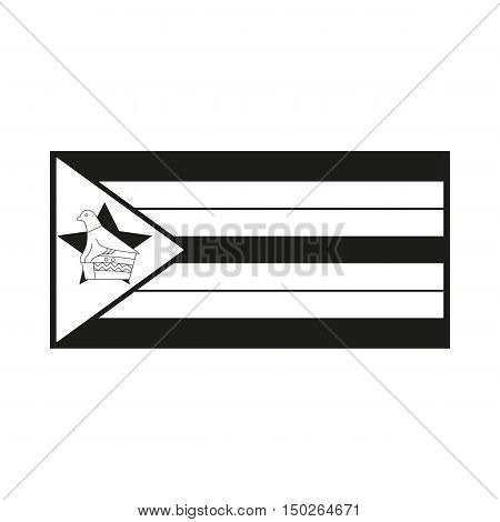 Zimbabwe flag Icon Created For Mobile Web Decor Print Products Applications. Black icon isolated on white background. Vector illustration.