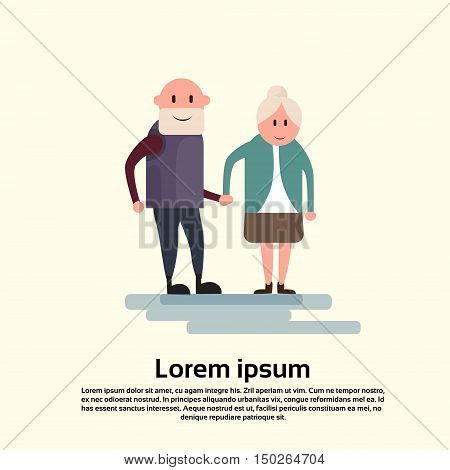 Senior Man Woman, Couple Grandfather Grandmother Holding Hands Flat Vector Illustration