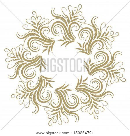 Abstract curly gold frame isolated on white background. Vector illustration.