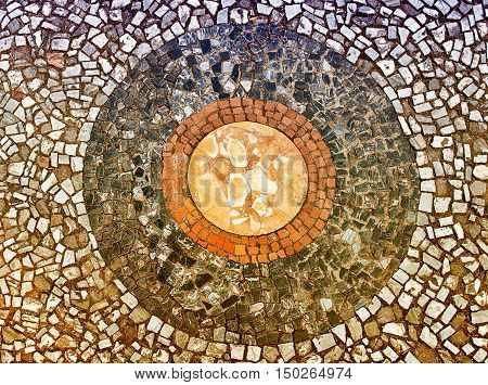 Mosaic On The Floor Inside Villa D'este, Tivoli, Italy