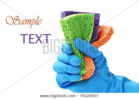 Gloved hand with colorful sponges on white background with copy space.