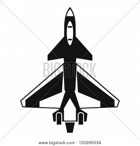 Military fighter jet icon in simple style isolated on white background vector illustration
