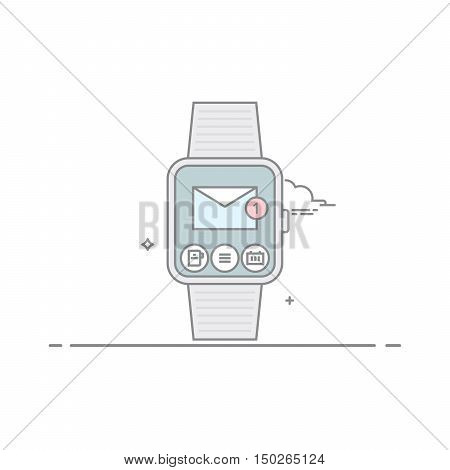 Smart watch. The concept of mobile application interface. Mail client. New unread email. Isolated on white background. The vector in a linear style