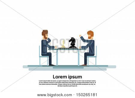 Business Man Play Chess Strategy Game Vector Illustration
