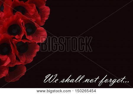 Abstract creative we shall not forget Remembrance Day greeting card scene