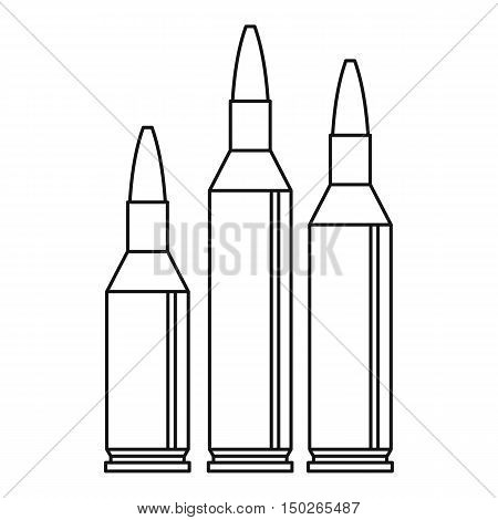 Bullet ammunition icon in outline style isolated on white background vector illustration