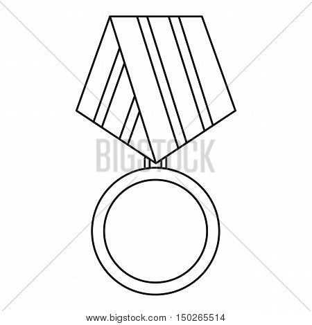 Military medal icon in outline style isolated on white background vector illustration
