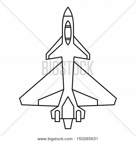 Military fighter jet icon in outline style isolated on white background vector illustration