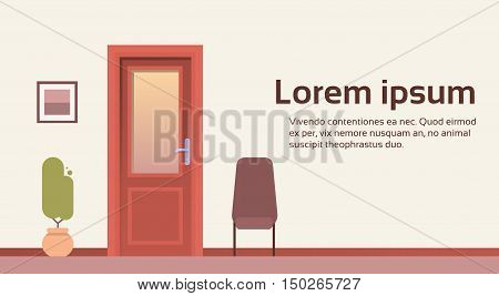 Office Room Door Corridor Waiting Hallway Flat Vector Illustration