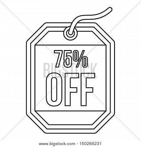 Sale tag 75 percent off icon in outline style on a white background vector illustration