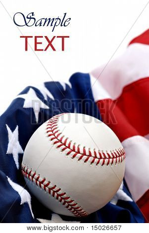 Official major league baseball with American flag on white background with copy space.  Macro with shallow dof.