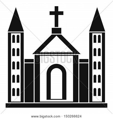 Christian catholic church building icon in simple style on a white background vector illustration
