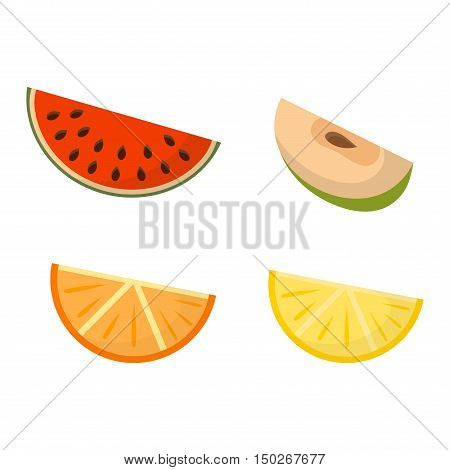 Collection of fresh fruit slices on white background. Orange, lemon, apple, watermelon healthy fruit slices tropical vitamin. Fruit slices green apple color organic and juicy sweet citrus.