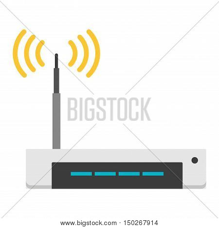 Wifi modem router isolated on white. Router detailed flat icon graphic illustration. Flat wi-fi modem technology. Flat wi-fi modem digital design.